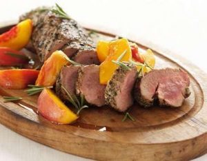 Grilled Sirloin Skewers with Peaches