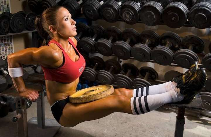 Elevated leg bench dips workout