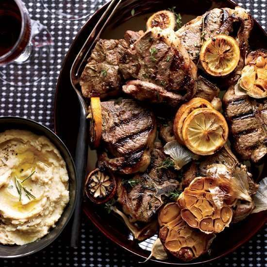 Grilled sheep Chops with Roasted Garlic