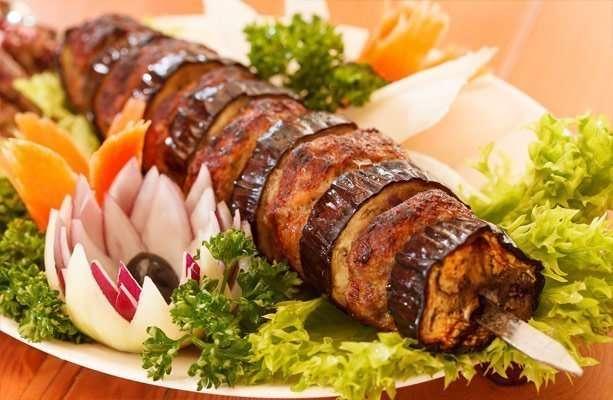 Turkish meat and eggplant kebabs